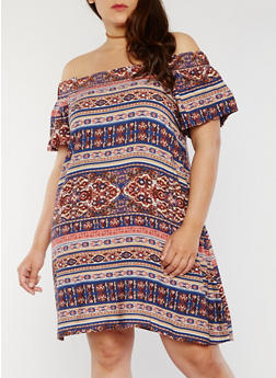 Plus Size Off the Shoulder Printed Dress - NAVY - 1822051068319