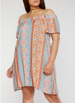 Plus Size Off the Shoulder Printed Dress - ROSE - 1822051068319