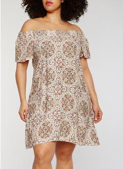 Plus Size Off the Shoulder Printed Dress - RUST - 1822051068319