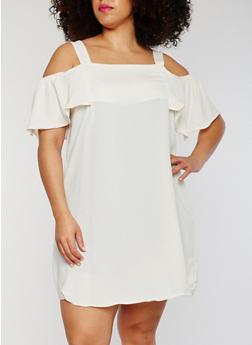 Plus Size Cold Shoulder Dress with Flutter Sleeves - 1822051068322