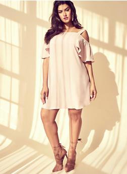 Plus Size Cold Shoulder Dress with Flutter Sleeves - BLUSH - 1822051068322