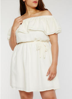 Plus Size Ruffled Off the Shoulder Dress with Sash Belt - HALF MOON - 1822051068393