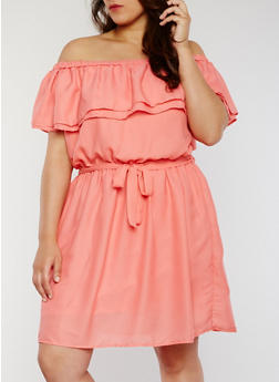 Plus Size Ruffled Off the Shoulder Dress with Sash Belt - 1822051068393