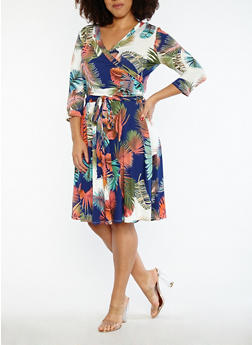 Plus Size Tropical Print Faux Wrap Dress - 1822054261161