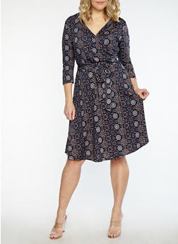 Plus Size Printed Faux Wrap Dress - BLACK/CLAY - 1822054261610