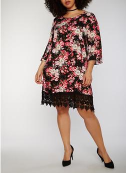 Plus Size Floral Trapeze Dress with Crochet Hem - 1822054263476