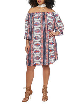 Plus Size Off the Shoulder Aztec Boho Shift Dress - 1822054265700