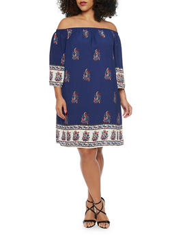 Plus Size Off the Shoulder Abstract Flower Boho Shift Dress - 1822054265701