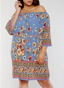 Plus Size Off the Shoulder Floral Peasant Dress - 1822054265706