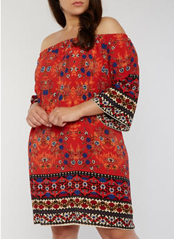 Plus Size Off the Shoulder Printed Trapeze Dress - 1822054265707
