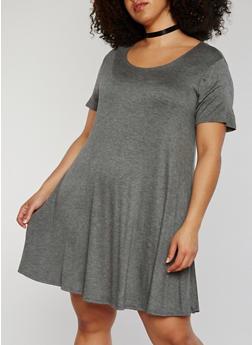 Plus Size Solid Scoop Neck T Shirt Dress - 1822054268820