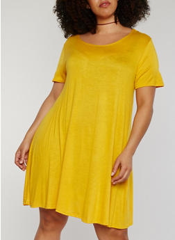 Plus Size Solid Scoop Neck T Shirt Dress - MUSTARD - 1822054268820