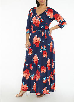 Plus Size Faux Wrap Floral Print Maxi Dress - 1822054269754