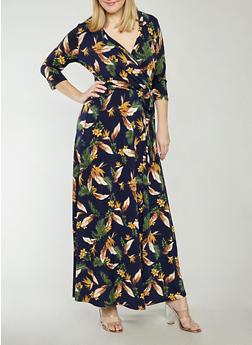 Plus Size Faux Wrap Floral Maxi Dress - 1822054269765