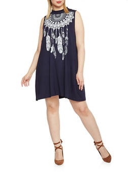 Plus Size Short Trapeze Dress - NAVY - 1822061358743