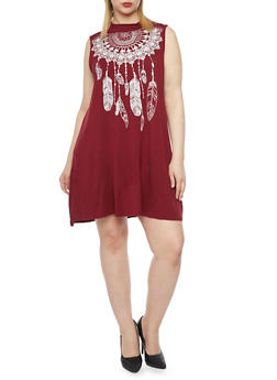 Plus Size Short Trapeze Dress - BURGUNDY - 1822061358743