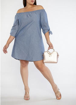 Plus Size Off the Shoulder Chambray Dress - 1822061359153