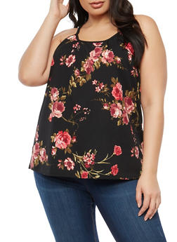 Plus Size Floral Sleeveless Top - 1823020628316
