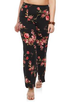 Plus Size Floral Pintuck Pants - 1823020629779