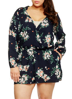 Plus Size Printed Long Sleeve Faux Wrap Romper - NAVY - 1824051060611
