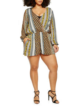 Plus Size Printed Long Sleeve Faux Wrap Romper - YELLOW - 1824051060611