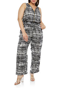 Plus Size Printed Cinched Waist Jumpsuit - GRAY - 1824051060704