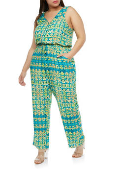 Plus Size Printed Cinched Waist Jumpsuit - TURQUOISE - 1824051060704