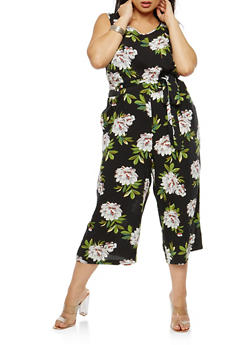Plus Size Floral Sleeveless Cropped Jumpsuit - 1824051062188