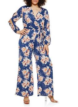Plus Size Floral Slit Sleeve Faux Wrap Jumpsuit - 1824054261185