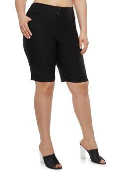 Plus Size Black Bermuda Shorts - 1825020626324