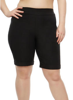 Plus Size Pull On Bermuda Shorts - 1825020626622