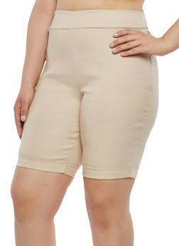 Plus Size Pull On Bermuda Shorts - 1825020626622