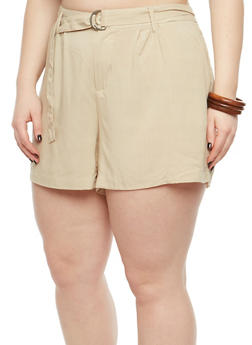 Plus Size Belted Linen Shorts - 1825051060485