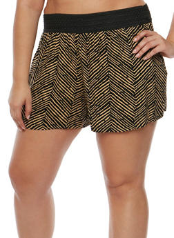Plus Size Printed Shorts with Crochet Waistband - BLACK/NUDE - 1860001440111