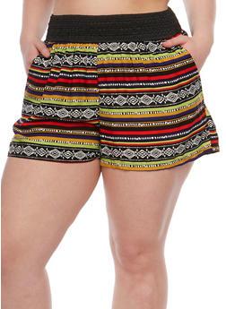 Plus Size Printed Shorts with Crochet Waistband - ORANGE/BLOOD - 1860001440111