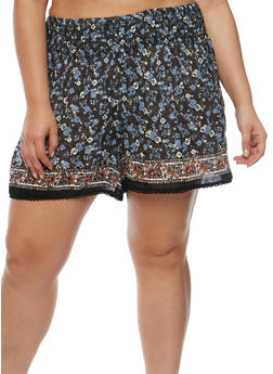 Plus Size Printed Shorts with Crochet Trim - GRAY - 1860001441128