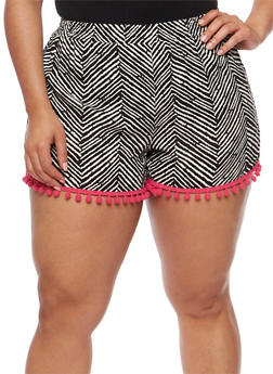 Plus Size Printed Shorts with Pom Pom Trim - 1860001441221