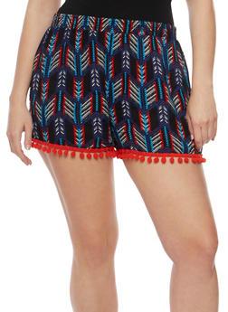 Plus Size Printed Shorts with Pom Pom Trim - OCEAN BLUE - 1860001441221