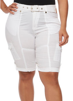 Plus Size Belted Roll Cuff Bermuda Shorts - WHITE - 1860038348240