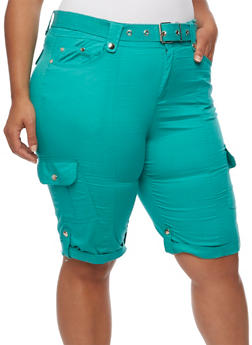 Plus Size Belted Roll Cuff Bermuda Shorts - 1860038348240