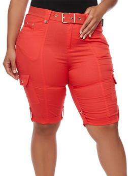 Plus Size Belted Roll Cuff Bermuda Shorts - 1860038348240