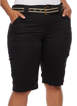Plus Size Cargo Shorts with Striped Belt - 1860038348241