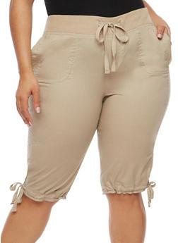 Plus Size Drawstring Waist Capri Pants - 1860038348251