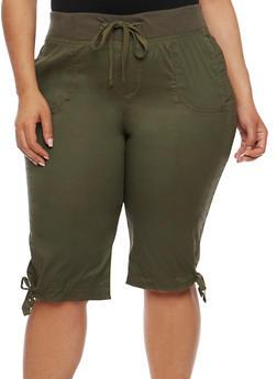 Plus Size Drawstring Waist Capri Pants - OLIVE - 1860038348251