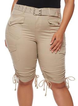 Plus Size Belted Cargo Bermuda Shorts - 1860038348252