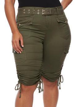Plus Size Belted Cargo Bermuda Shorts - OLIVE - 1860038348252