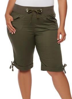 Plus Size Knit Waist Bermuda Shorts - 1860038348253