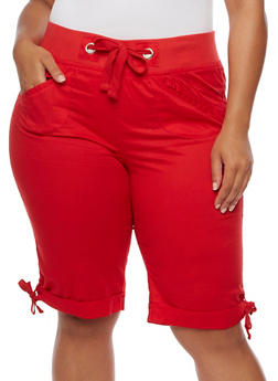 Plus Size Knit Waist Bermuda Shorts - 1860038348253