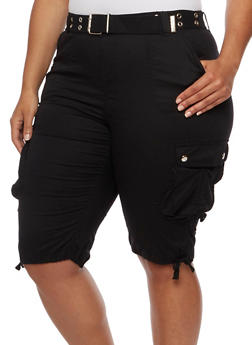 Plus Size Belted Stretch Cargo Shorts - 1860038348257
