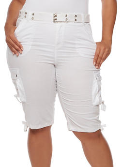 Plus Size Belted Stretch Cargo Shorts - WHITE - 1860038348257